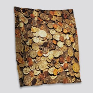 U.S. Coins Burlap Throw Pillow