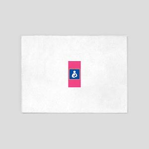 Breastfeeding Symbol on Pink 5'x7'Area Rug