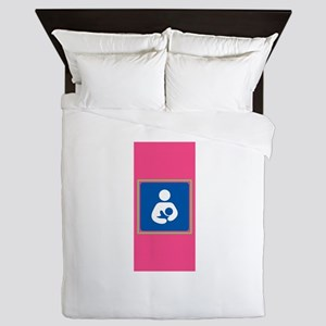 Breastfeeding Symbol on Pink Queen Duvet