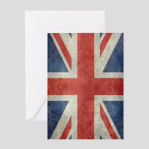 Vintage Union Jack flag Greeting Cards