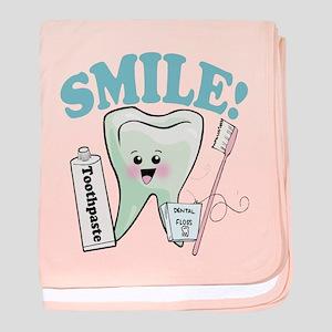 Smile Dentist Dental Hygiene baby blanket