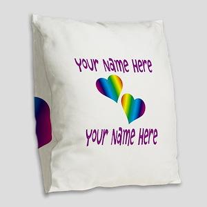 Rainbow Love Burlap Throw Pillow