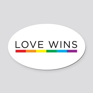 Love Wins Oval Car Magnet
