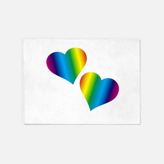 Rainbow Love 5'x7'Area Rug