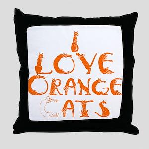 I love orange cats Throw Pillow