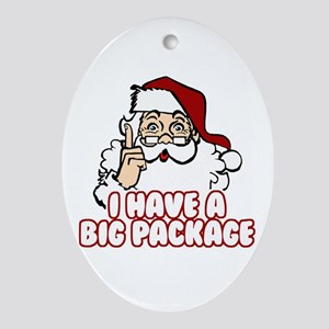 Santa Has A Big Package Ornament (Oval)