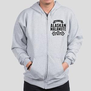Worlds Best Alaskan Malamute Mom Zip Hoodie