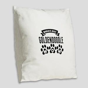 Worlds Best Goldendoodle Mom Burlap Throw Pillow