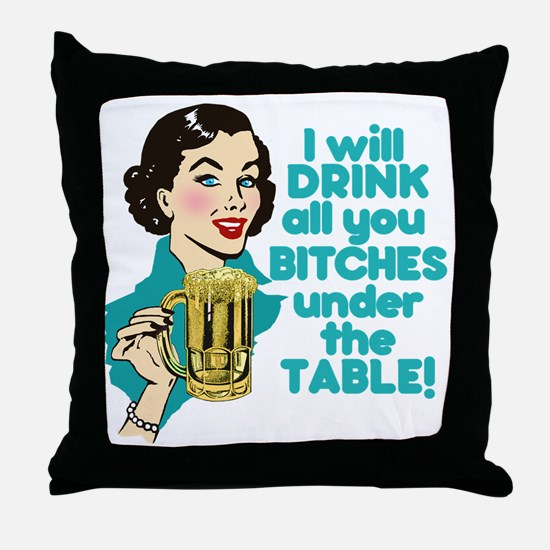 Funny Beer Drinking Humor Throw Pillow