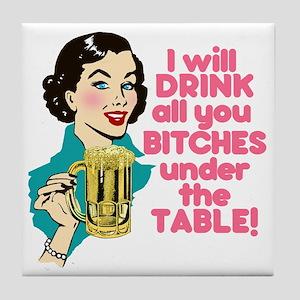 Funny Beer Drinking Humor Tile Coaster
