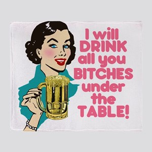 Funny Beer Drinking Humor Throw Blanket