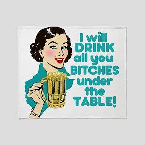 Funny Beer Drinking Humor Throw Blanket