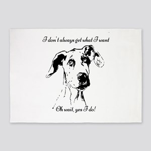 Fun Great Dane Dog Quote 5'x7'Area Rug