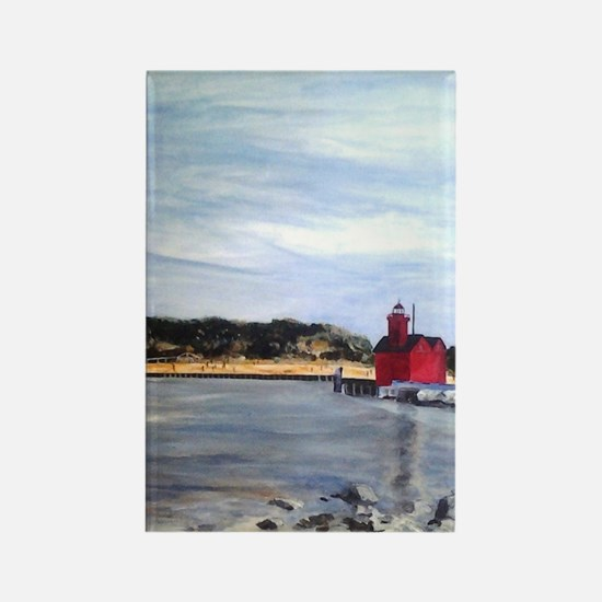 Big Red Lighthouse Rectangle Magnet