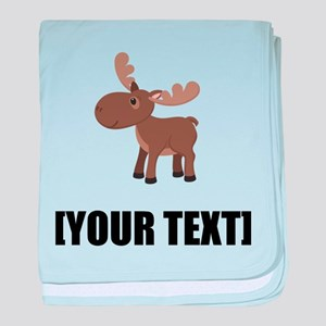 Cartoon Moose Personalize It! baby blanket