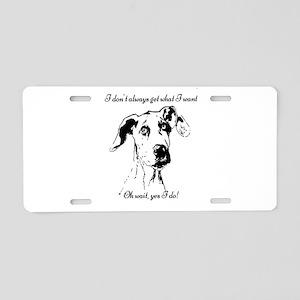 Fun Great Dane Dog Quote Aluminum License Plate