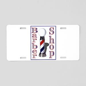 Barber Shop-Blue Aluminum License Plate