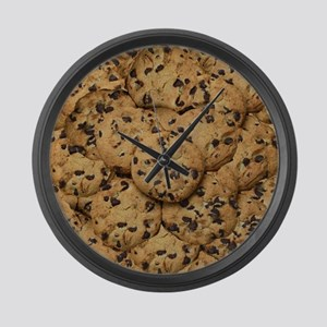 Chocolate Chop Cookie Pattern Large Wall Clock