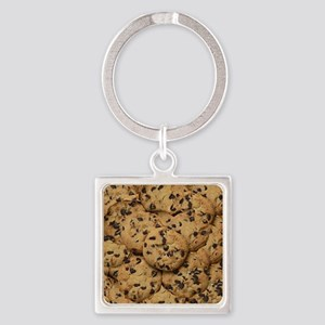 Chocolate Chop Cookie Pattern Square Keychain
