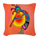 Lizard Kokopelli Sun Woven Throw Pillow