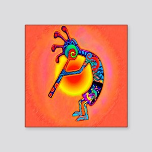 "Lizard Kokopelli Sun Square Sticker 3"" x 3"""