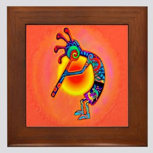 Lizard Kokopelli Sun Framed Tile