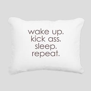 wake up kick ass sleep repeat Rectangular Canvas P