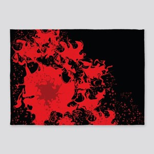 Red splatter on black background 5'x7'Area Rug