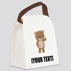 Teddy Bear Waving Personalize It! Canvas Lunch Bag