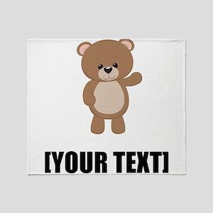 Teddy Bear Waving Personalize It! Throw Blanket