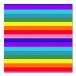 Stripes of Rainbow Colors Square Car Magnet 3