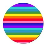Stripes of Rainbow Colors Round Car Magnet