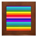 Stripes of Rainbow Colors Framed Tile