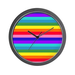 Stripes of Rainbow Colors Wall Clock