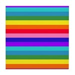 Stripes of Rainbow Colors Tile Coaster