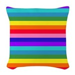 Stripes of Rainbow Colors Woven Throw Pillow