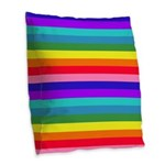 Stripes of Rainbow Colors Burlap Throw Pillow