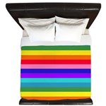 Stripes of Rainbow Colors King Duvet