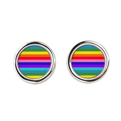 Stripes of Rainbow Colors Round Cufflinks