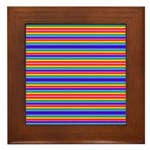 Tiny stripes of rainbow colors Framed Tile