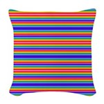 Tiny stripes of rainbow colors Woven Throw Pillow