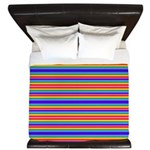 Tiny stripes of rainbow colors King Duvet