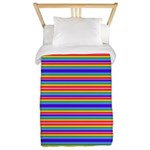 Tiny stripes of rainbow colors Twin Duvet