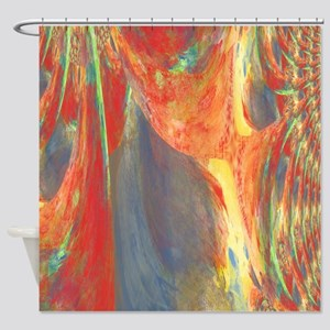 Abstract Flower Bouquet in Red, Blu Shower Curtain