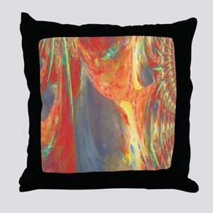 Abstract Flower Bouquet in Red, Blue  Throw Pillow