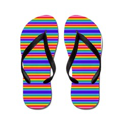 Tiny stripes of rainbow colors Flip Flops