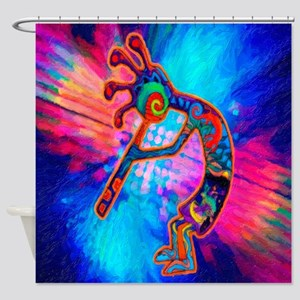 Rainbow Kokopelli 2 Shower Curtain
