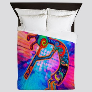 Rainbow Kokopelli 2 Queen Duvet