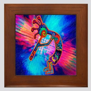Rainbow Kokopelli 2 Framed Tile