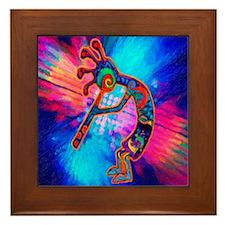Rainbow Kokopelli 2 Framed Tile